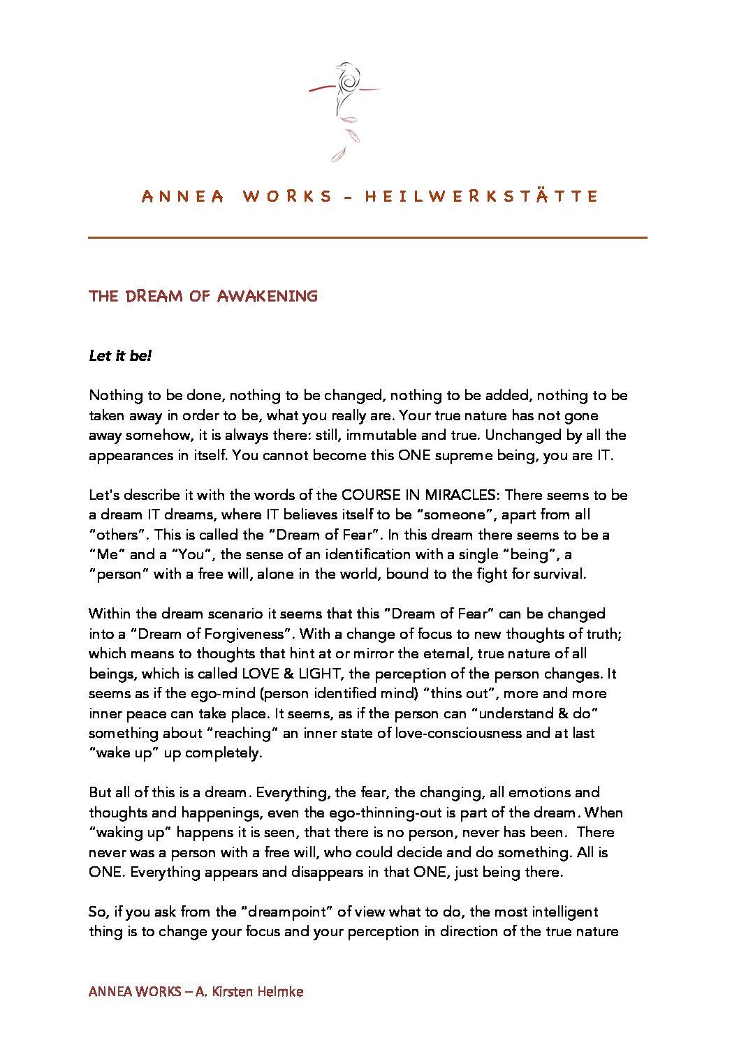 The Dream of awakening